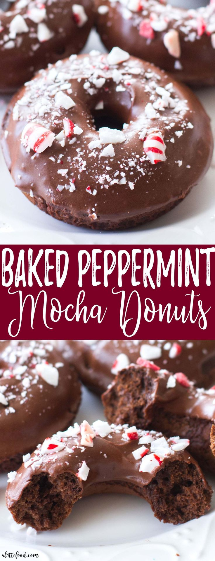 These easy baked chocolate donuts are filled with coffee and rich chocolate, and topped with a chocolate peppermint glaze. The perfect Christmas dessert! A simple chocolate donut recipe you're sure to love! #peppermint #mocha #donut #chocolate #christmas