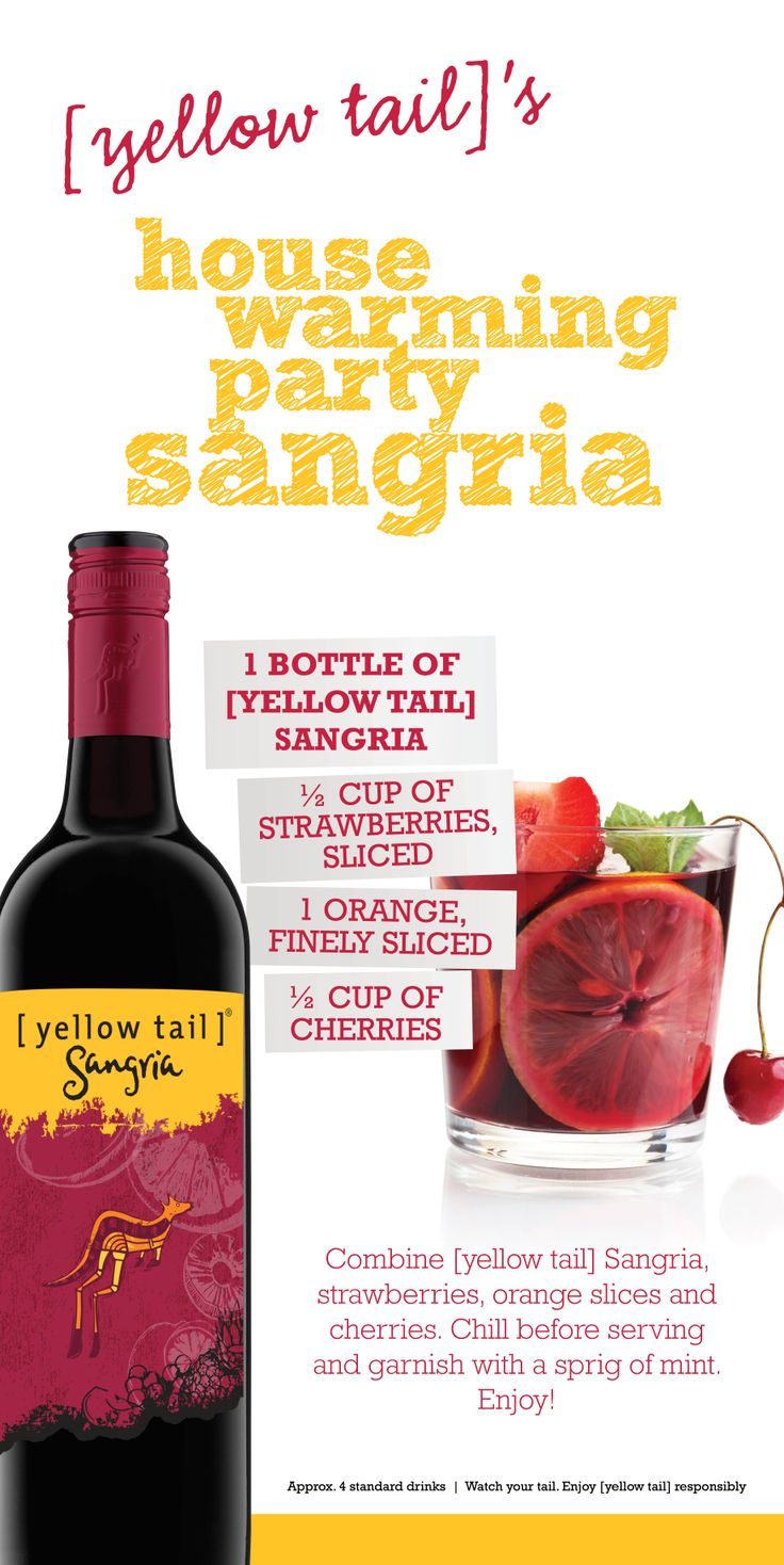 [yellow tail] Sangria cocktail recipe - the perfect house warming party beverage! ...or for anything else really :P #party #sangria #yellowtailsangria