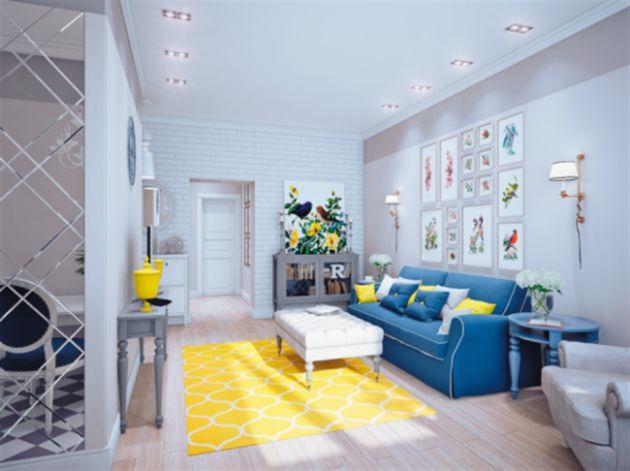 interieur salon bleue canard et jaune - Salon Bleu Canard Et Gris
