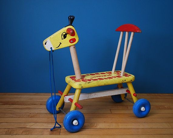 Vintage 1950s/1960s Playskool Wooden Giraffe... I remember these