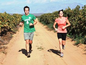 Why not go on a mid morning jog between the vineyards while on vacation?