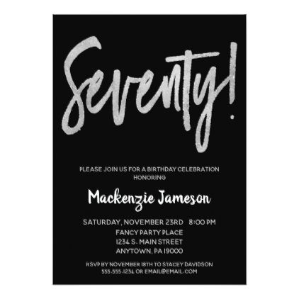 Black Silver Script 70th Birthday Party Invitation
