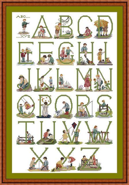 Cottage needlecraft alphabet   Cross-stitch Alphabet of Children for Girls & Boys   Flickr - Photo ...
