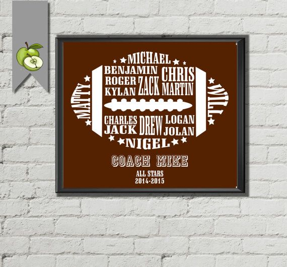 American Football Players Coach Appreciation gift PE Phyical education team typography Personalised DIY Printable wall art print birthday