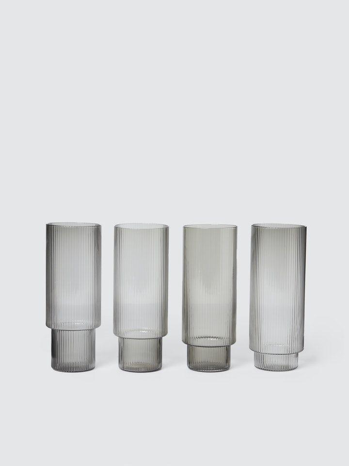 Ferm Living Ripple Long Drink Glasses Set Of 4 In 2020 Glasses Drinking Drink Glasses Set Long Drink