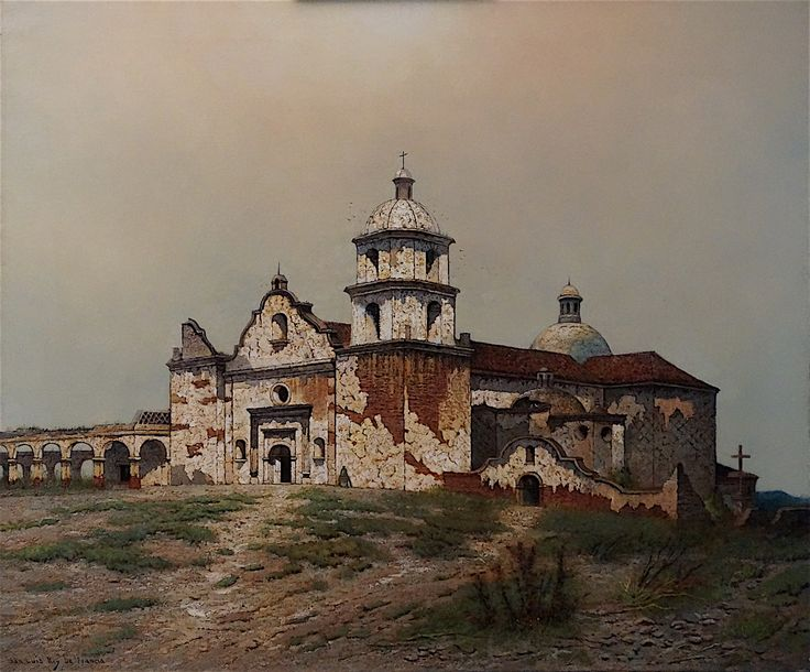 """""""Mission San Luis Rey de Francia"""" by Edwin Deakin. On Display at the Santa Barbara Mission Archive Library. www.fineartconservationlab.com"""