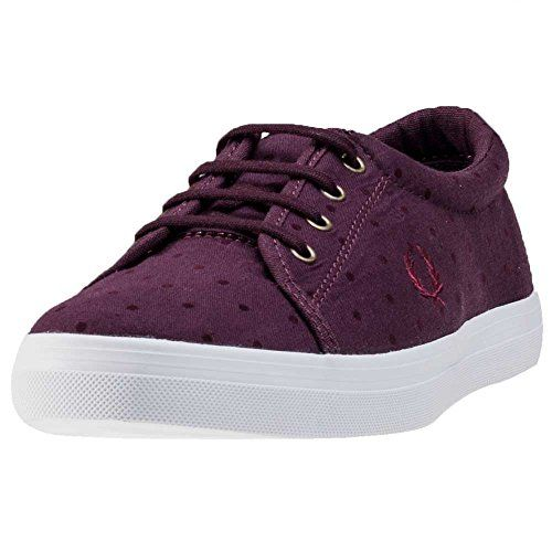 Fred Perry Aubyn Flocked Polka Dot Womens Trainers Oxblood - 6.5 UK