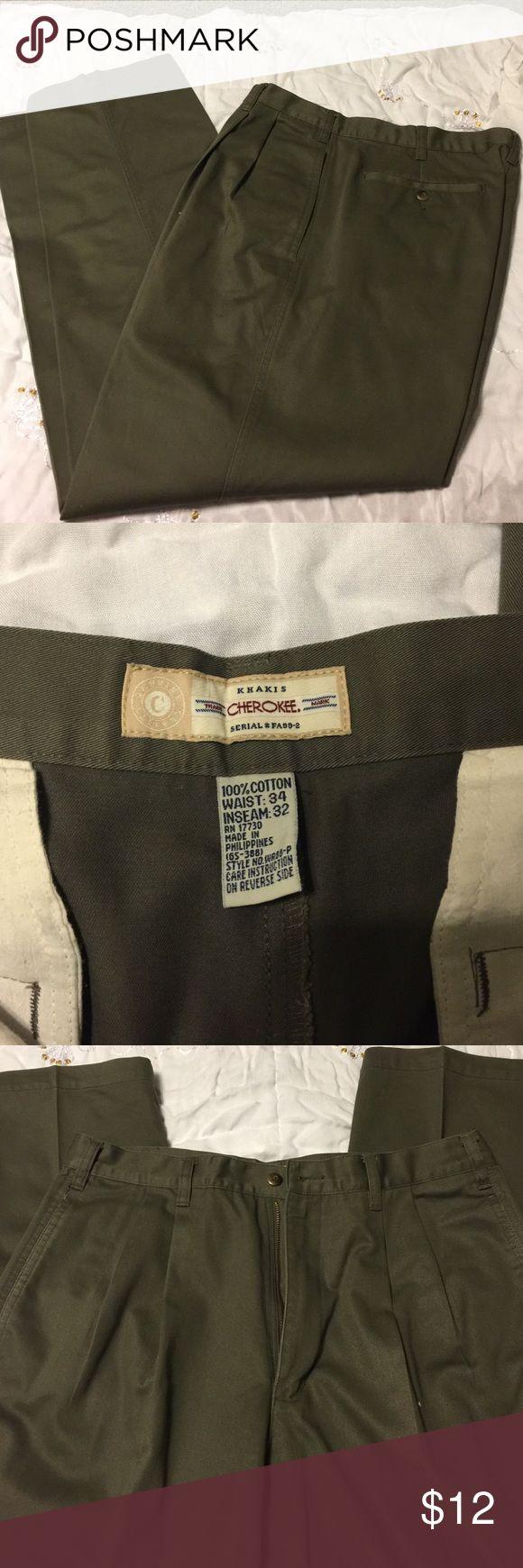 Cherokee men's kaki pants Very nice, like new condition!  💯 percent cotton men's kakis.  33 waist 32 inseam Cherokee Pants Chinos & Khakis