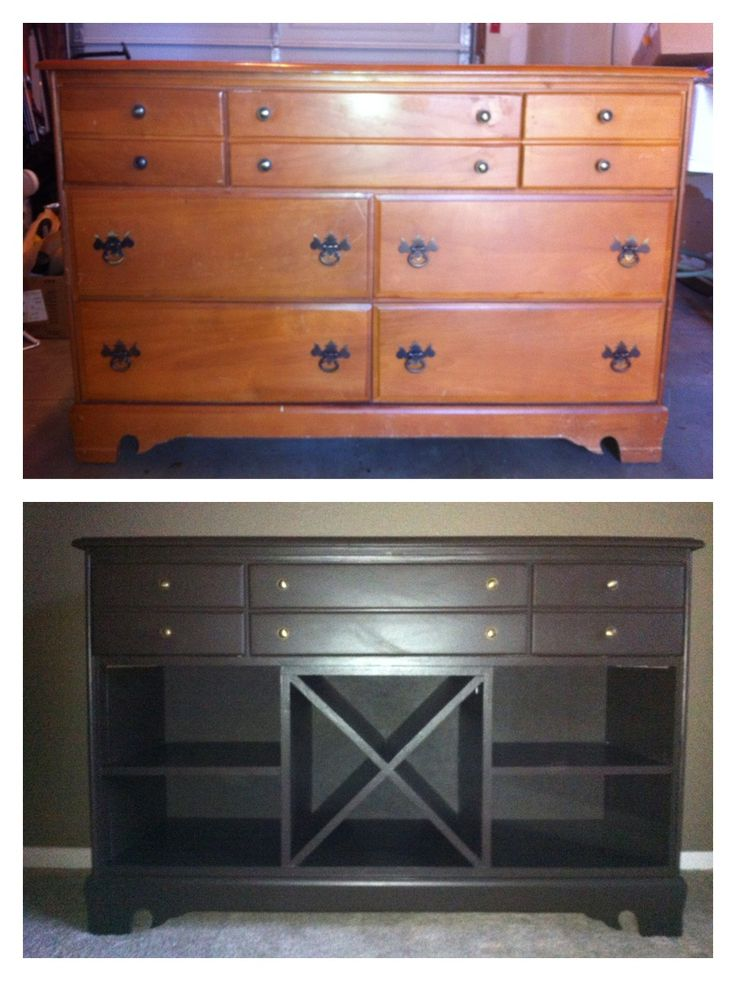 My first large wood project, dresser to buffet. I first attempted to paint it green but thought better of it and went with dark brown.