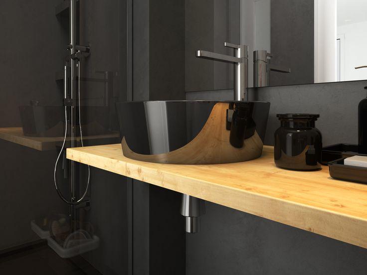 Aménagement petite salle de bain tout en noir