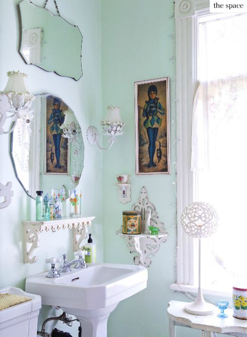Down and Out Chic: Interiors: Bathrooms + Mirror Clusters