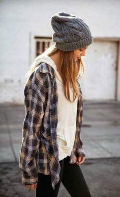 #winter #fashion / oversized plaid + cream hoodie +cozy beanie