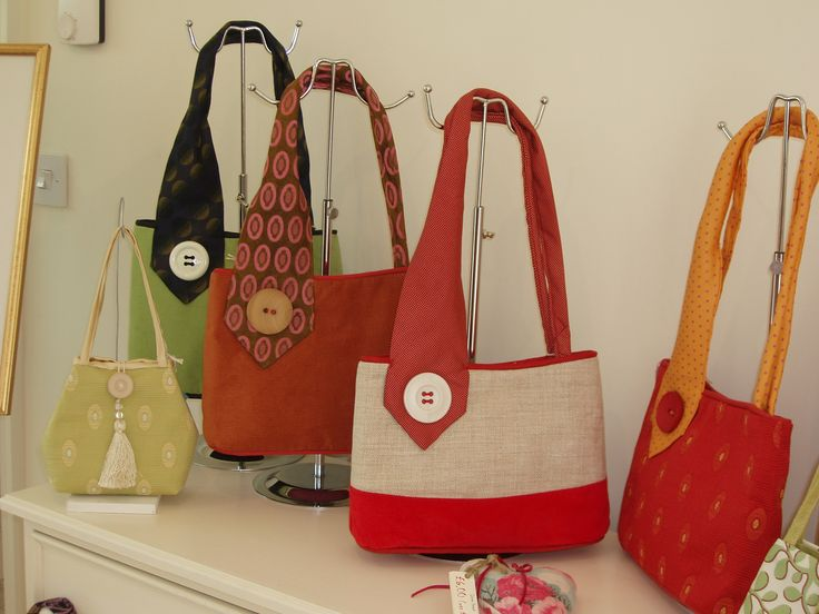 A selection on handbags made by The House of Bamboo using upcycled vintage ties. Available from Bond Street Studios of Hingham.