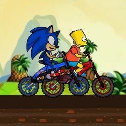 Sonic si Simpson intr-o intrecere pe biciclete