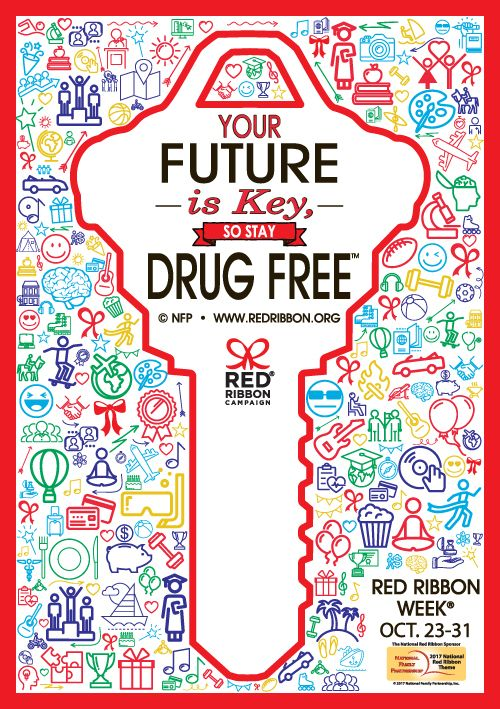 "Hanging Your Future Is Key, So Stay Drug Free.™ Posters around school is a great way to get the message across during Red Ribbon Week     Show your support anywhere around the school.  Hang this laminated poster in classrooms, hallways, even the auditorium during Red Ribbon Week.  Size: 12"" x 17"". We have other great Red Ribbon Week items with this great theme, ""Your Future Is Key, So Stay Drug Free"" Please check out more of our best selling Red Ribbon Week products."