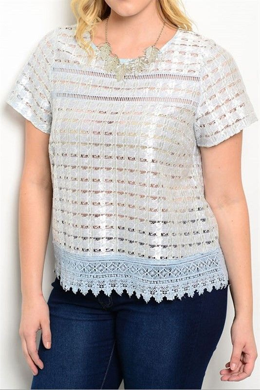 Blue Metallic Short Sleeve Top