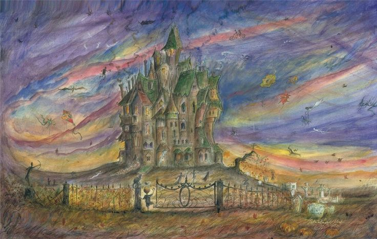 Original Watercolor Paintings of Tyler, Texas,  Halloween Art,Halloween illustrations,Halloween Fairy, Fairy illustrations, and prints by John Randall York. Christmas art.Original haunted house  and fairy, fantasy paintings just for you!