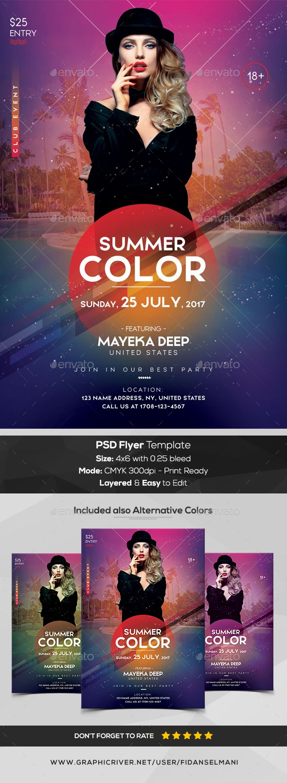 #Summer Color - PSD Flyer Template - #Events #Flyers Download here:  https://graphicriver.net/item/summer-color-psd-flyer-template/20286770?ref=alena994