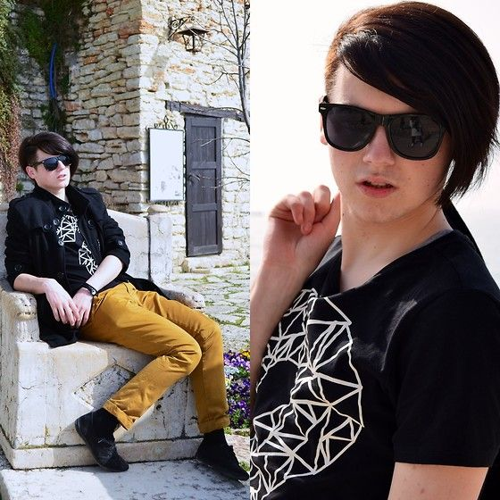 Pull Mustard Basic Chinos Style Trousers, Bershka Question Mark T Shirt, Black  Leather Shoes