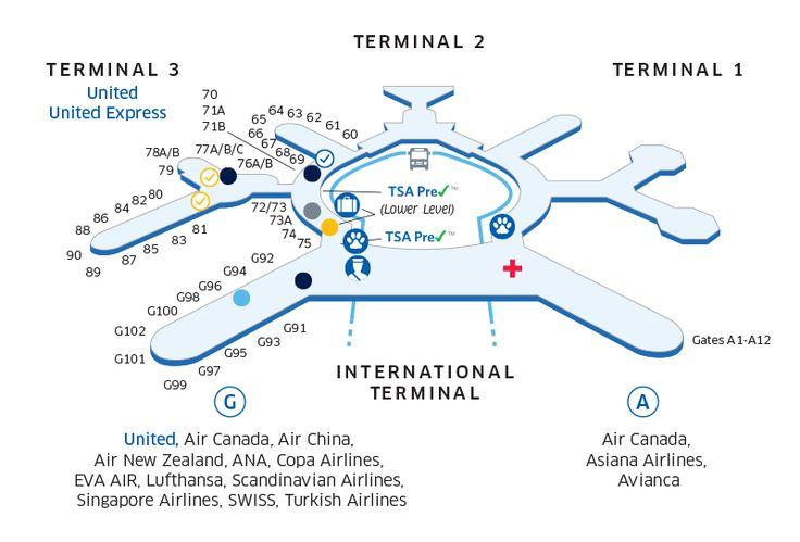 San Francisco International Sfo Airport Map Travel