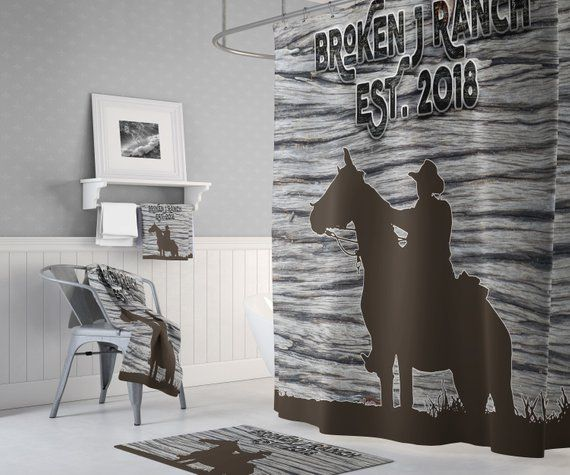 Personalized Rustic Cowboy Shower Curtain Personalized Farmhouse Ranch Bathroom Decor Riding Horse Shower Curtain Unique Shower Curtain Custom Shower Curtains Horse Shower Curtain