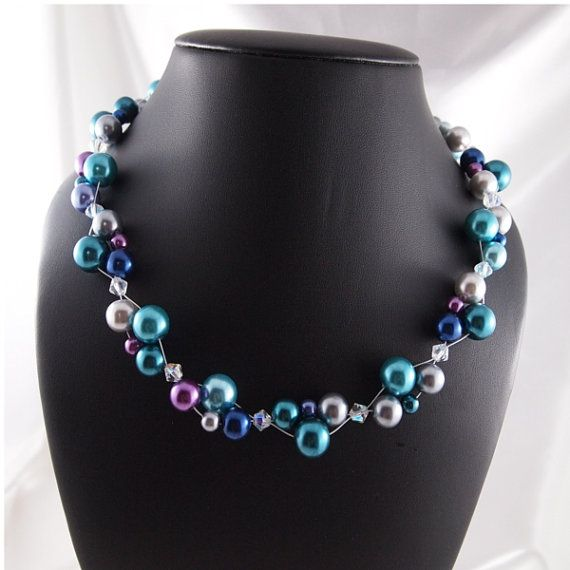 Peacock Cluster Glass Pearl Necklace by ChainedByLightness on Etsy, $48.00-Sold