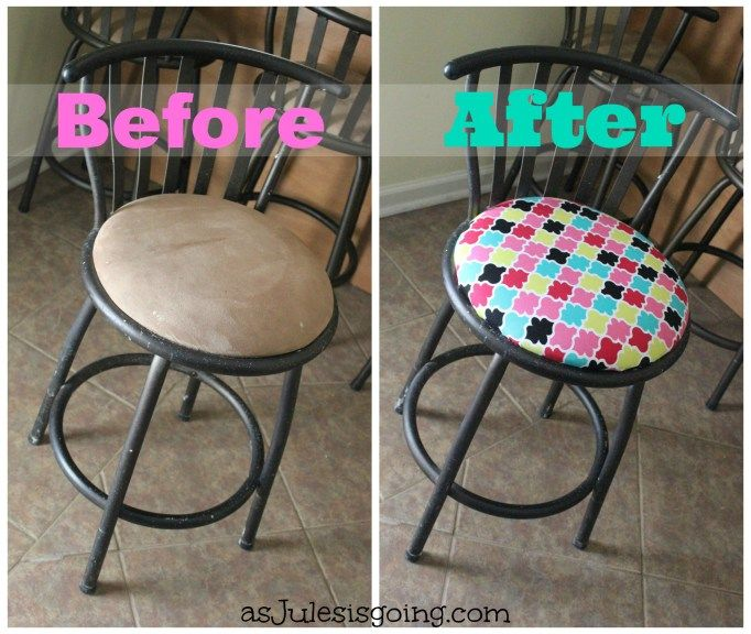 Reupholstering Bar Stools For Newbies Before And After New House Projects Pinterest Bar