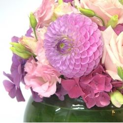 Princess Grace - lush posy of lilac and soft pink in a glass bowl www.nzflowers.co.nz