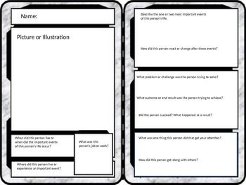 """Give summaries and writing a different look by having students create trading cards! Students can insert pictures directly into the template and add """"vital statistics"""" to the card. This template is designed to be used to describe a person or historical figure.The template is created in PowerPoint which makes editing, moving components, and inserting images very easy.Teachers: All text boxes are fully editable, so if you'd like to tweak any questions or prompts, please do!"""