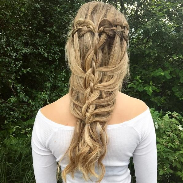 A waterfall braided headband, woven into a french fishtail braid