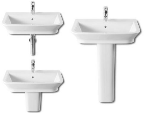 lavabo The Gap de Roca con semipedestal, de dimensiones 50x42cm