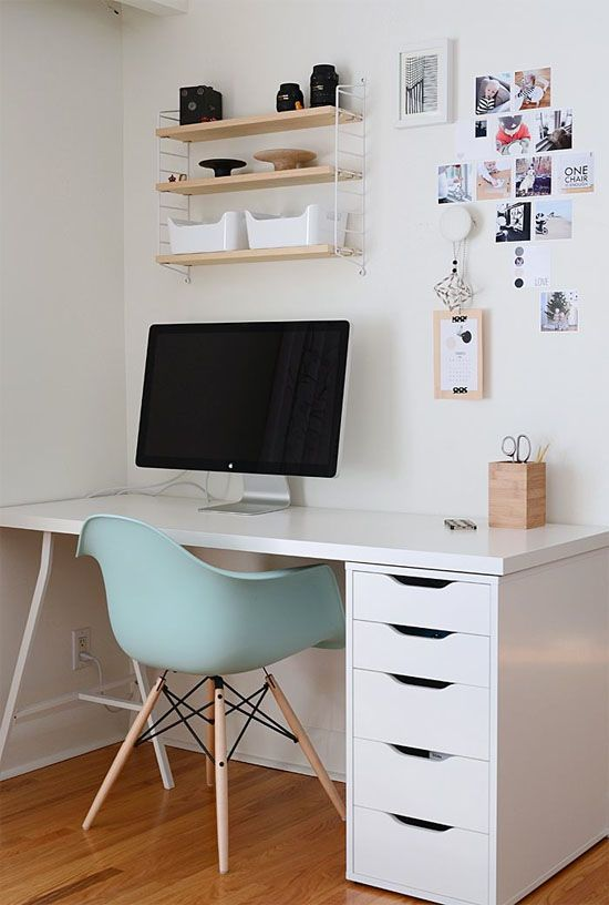 Home office with blue Eames chair