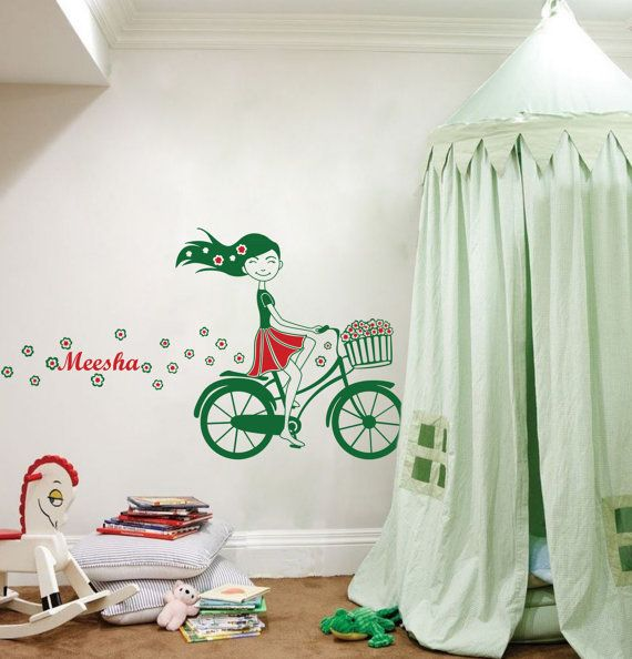 Cool Wall Decals   Cute Bicycle Girl Wall Decal With Colors, Flowers U0026 Cool  Breeze