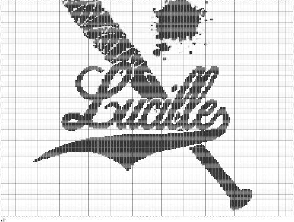 Crochet The Walking Dead Lucille Bat Chart, Crochet Colorwork Lucille Bat Graph Pattern, PDF Digital Files by FADesignCharts on Etsy https://www.etsy.com/listing/485705166/crochet-the-walking-dead-lucille-bat