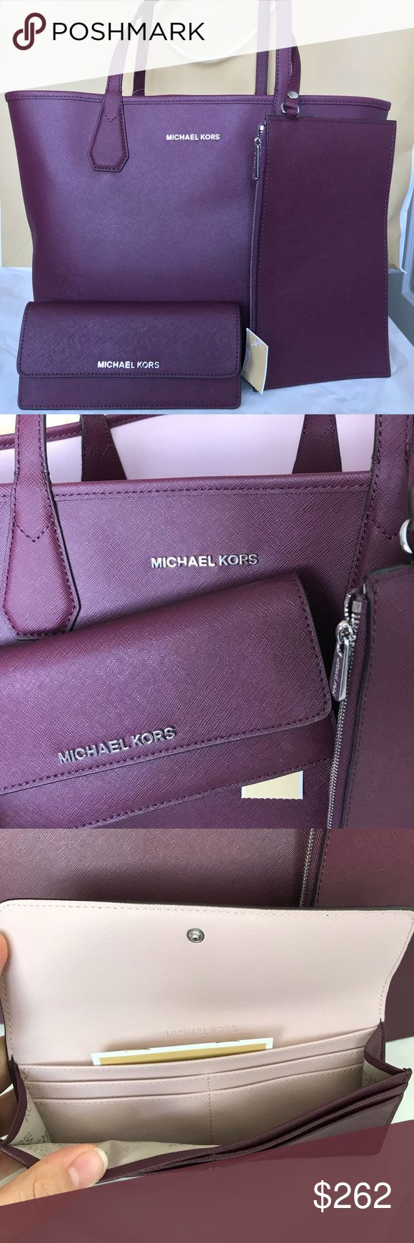 Michael Kors Reversible Tote and Wallet Set Both Brand new with tag!! %100 Authentic. Bag is reversible, you can use both sides, has a removable pouchWallet is pretty roomy and useful for everyday!!Gift wrap and shopping bag is availableColors burgundy and very light pink! Michael Kors Bags Shoulder Bags