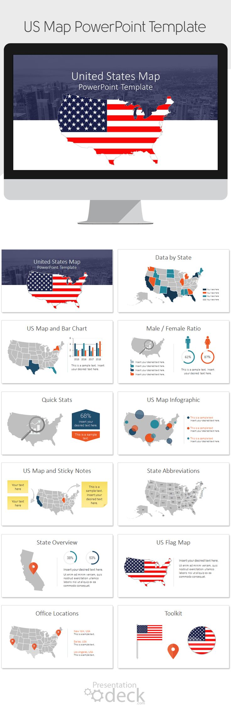 Best General PowerPoint Templates Images On Pinterest - Powerpoint slide with us map