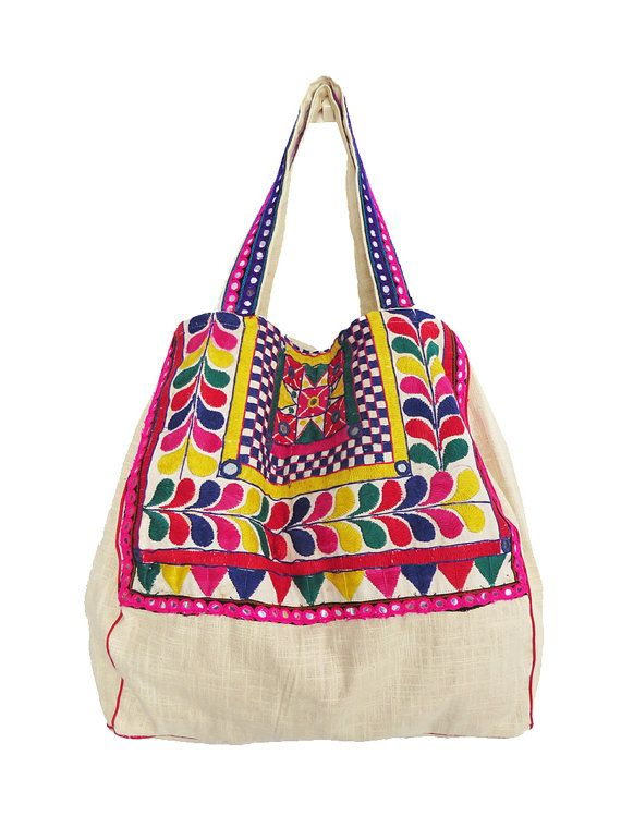 Colourful Pink Hippie tribal Style Embroidered Tote Bag with bright Green,Tribal, Boho, kutchi, Ethnic India