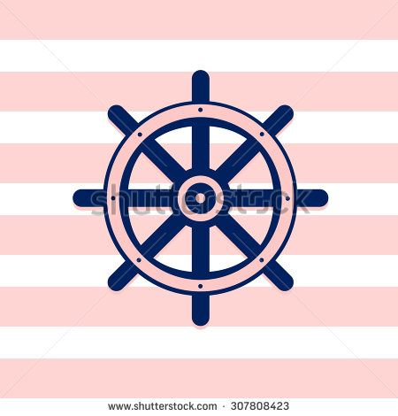 Illustration of ship wheel icon on pink and white stripped background. | ID:307808423 Copyright: Amalia Ferreira Espinoza adventure, blue, boat, captain, circle, control, cruise, cute, direction, driving, equipment, handle, helm, icon, illustration, isolated, journey, marine, maritime, nautical, navigate, navigation, navy, object, piloting, quaint, rudder, sail, sailboat, sailor, ship, steer, symbol, travel, vessel, wheel, yachting #nautical #illustration #sea afeimages