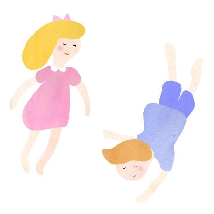 Dreaming Girl & Floating Boy  #pattern #illustration