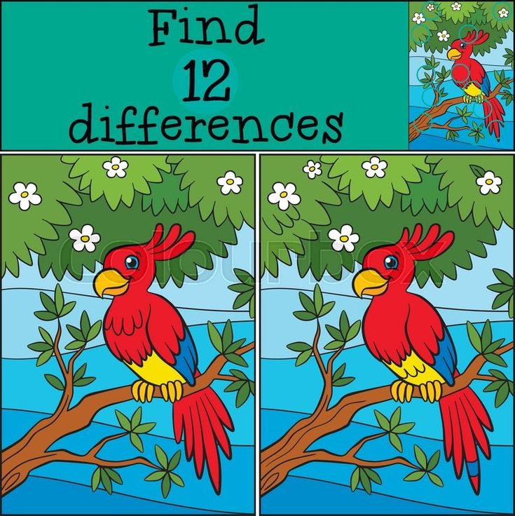 Stock vector of 'Children games: Find differences. Little cute parrot sits on the tree branch.'