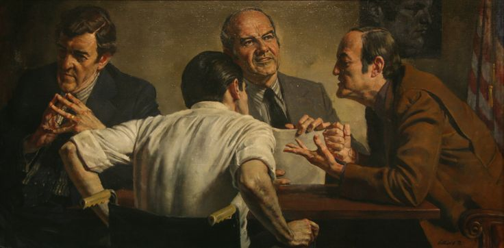 Alvin L. Gittins - Winners and Losers Democrats (1972) oil on canvas: Featuring Edmund Muskie, George Wallace, George McGovern, Hubert Humphrey, Sargent Shriver