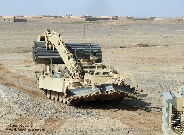 A Trojan vehicle leads the convoy in Helmand, Afghanistan, during Operation Moshtarak.