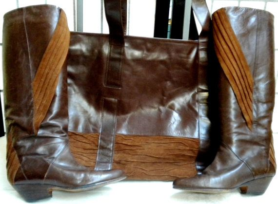 VINTAGE BAG Leather suede Brown BOOTS with matching bag