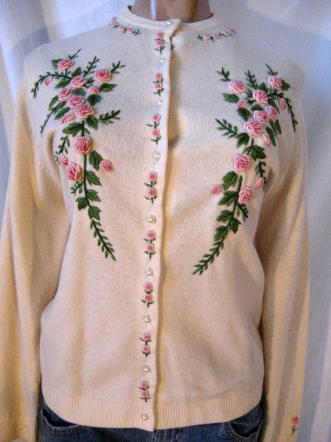 1950's Embroidered Cardigan silk lined