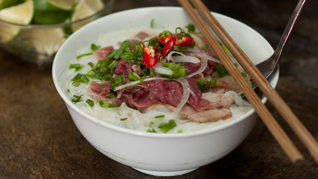 Beef noodle soup with rice noodles  recipe (pho bo)