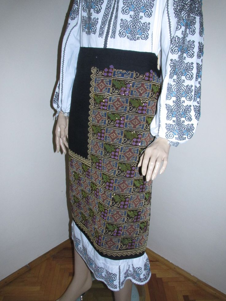 Antique hand embroidered Romanian traditional costume's skirt .  For sale at www.greatblouses.com