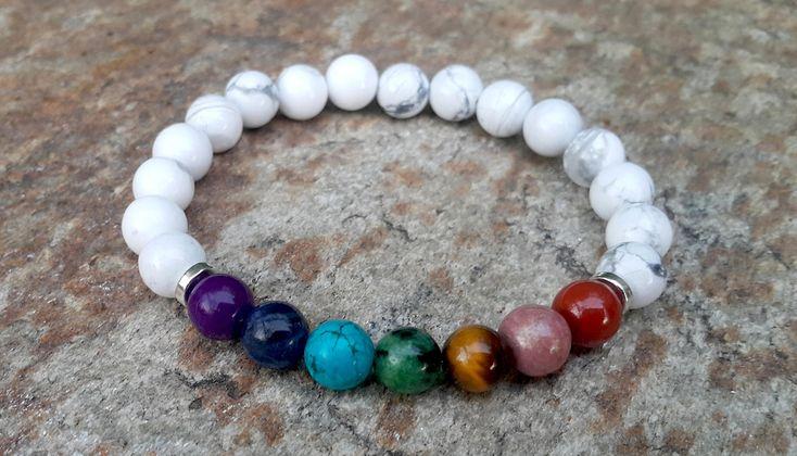 Seven Chakras Bracelet, Howlite Chakra Bracelet, Chakra Mala, Balance Bracelet, Reiki Bracelet, Rainbow Bracelet, Meditation, Yoga Bracelet #chakras #yoga #bracelet
