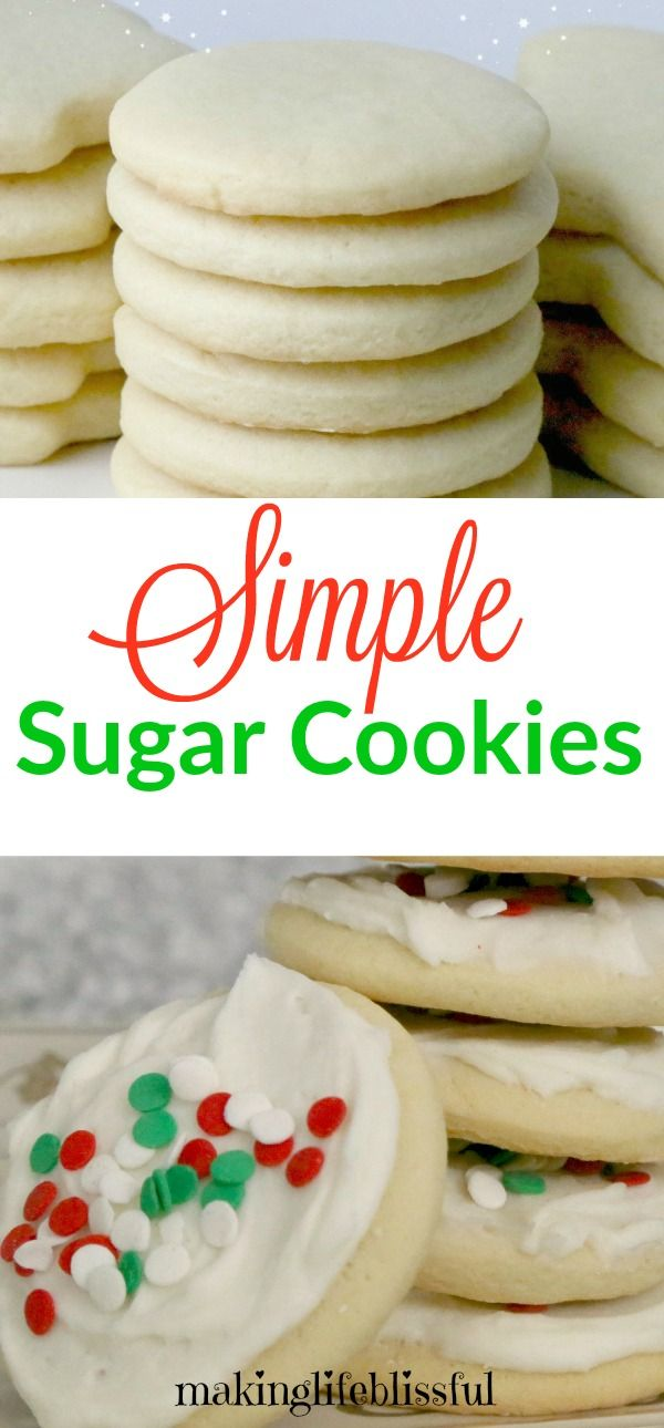 Easy sugar cookie recipe and they taste heavenly! Simple sugar cookies with easy ingredients and without crazy steps.