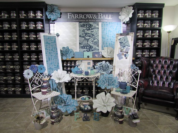 A creative in-store display of our new wallpapers by F&B stockist Blakes Decorator Centre, UK