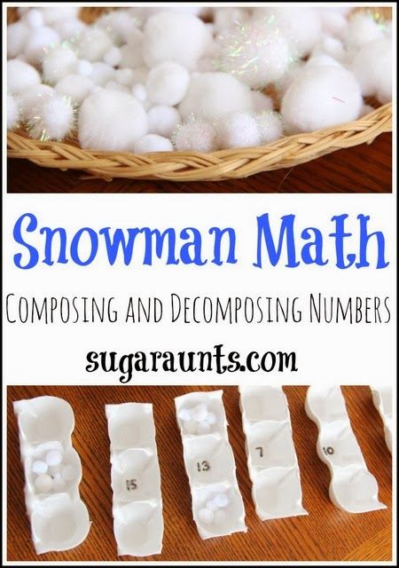 Kindergarten Math: Composing and Decomposing numbers with a snowman theme. By Sugar Aunts